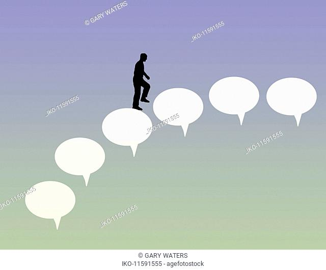 Man walking up speech bubble staircase
