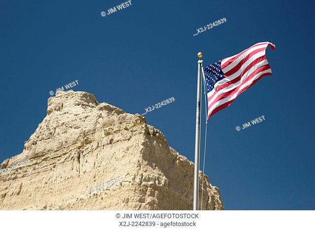 Scottsbluff, Nebraska - The American flag at the visitor center of Scotts Bluff National Monument. Scotts Bluff was a landmark for westward-bound pioneers...