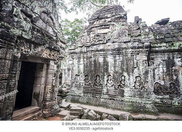 Bas-relief in Preah Khan temple, Angkor Complex (Siem Reap Province, Cambodia)