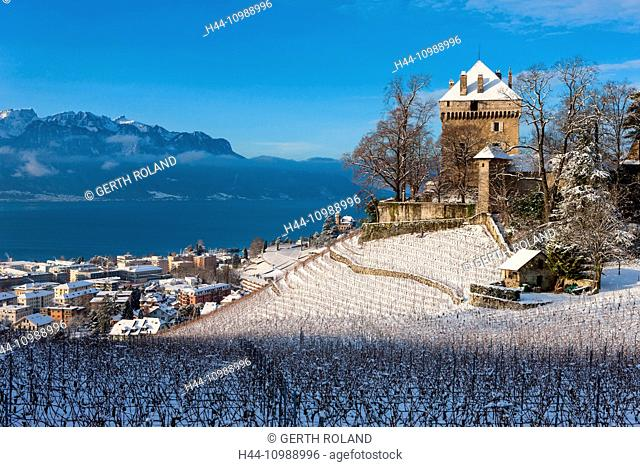 Chatelard Castle in the canton of Vaud in winter