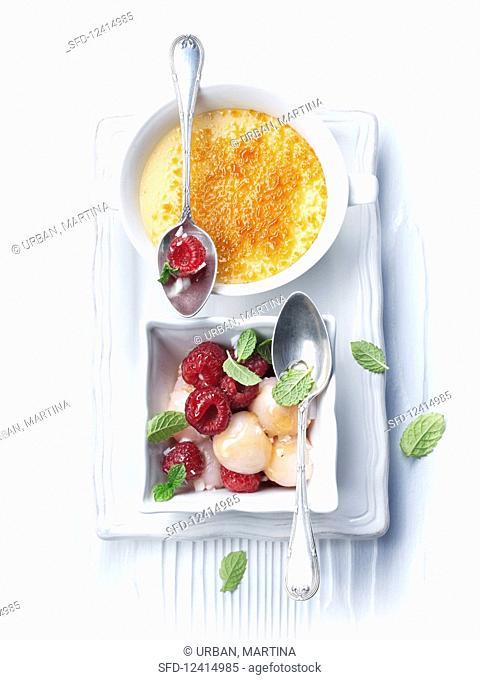 Coconut crème brûlée with a lychee and raspberry ragout