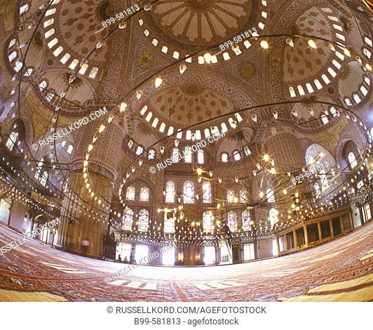 Interior, Suleymaniye Mosque, Istanbul, Turkey