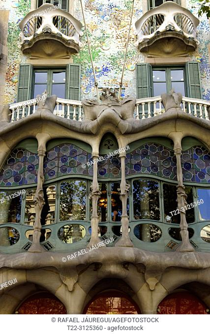 Barcelona, Spain). Architectural detail on the facade of the Batllón House in Barcelona
