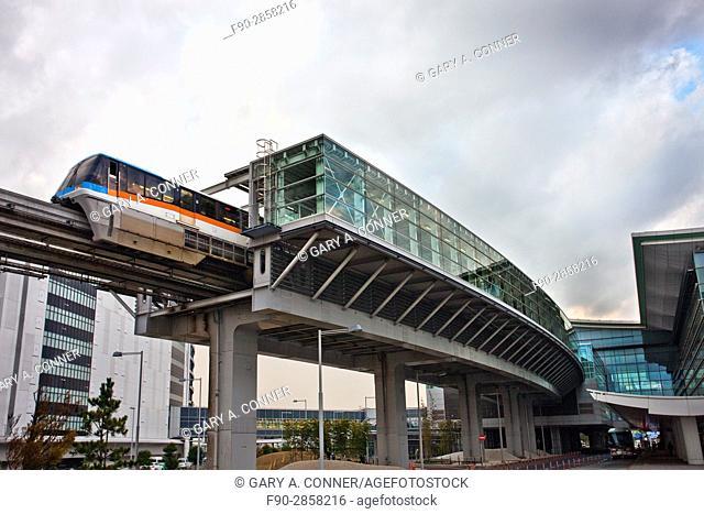 Tokyo Monorail train leaves at Haneda Airport in Tokyo, Japan