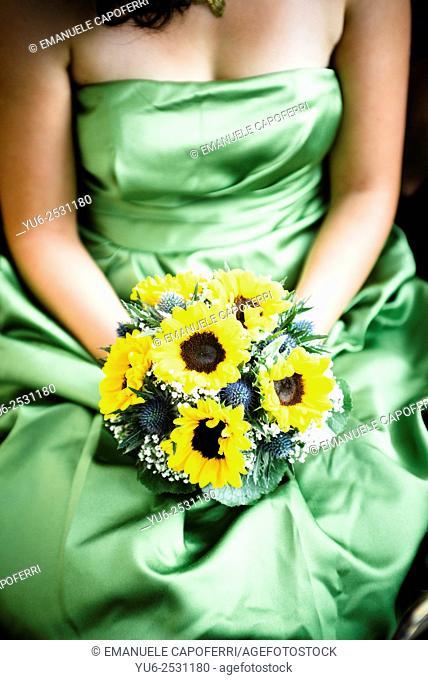 Bouquet, wedding, sunflowers