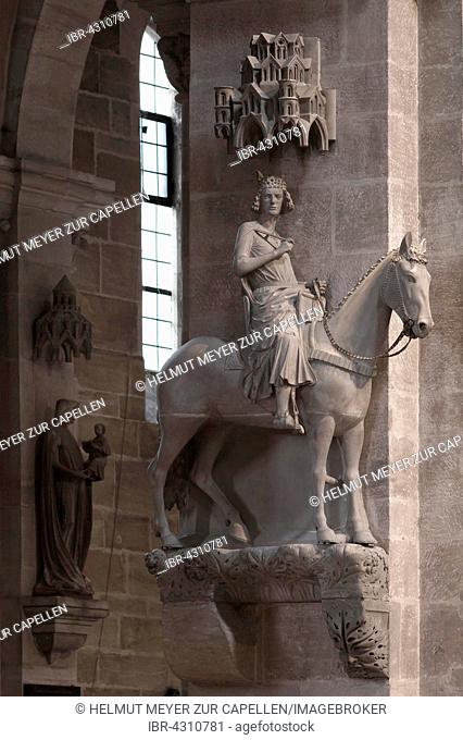 Bamberger horse-rider, stone equestrian statue, medieval, Bamberg Cathedral, UNESCO World Heritage Site, Bamberg, Upper Franconia, Bavaria, Germany