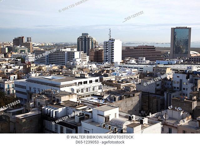 Tunisia, Tunis, elevated view towards new city
