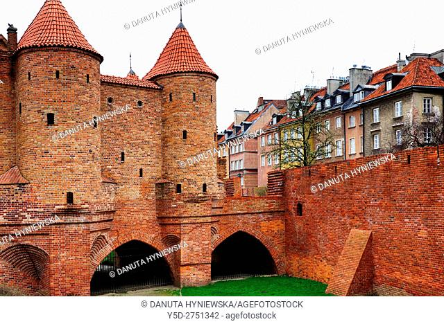 Warsaw Barbican - Barbakan Warszawski, one of few remaining relics of the complex network of historic fortifications that once encircled Warsaw
