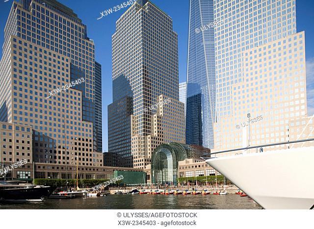 marina, battery park area, world financial center and skyscrapers, financial district, Manhattan, New York, Usa, America
