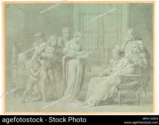 King Charles VIII of France with the Dying Gian Galeazzo Sforza at Pavia. Artist: Pelagio Palagi (Italian, Bologna (?) 1775/77-1860 Turin); Date: 1775-1860;...