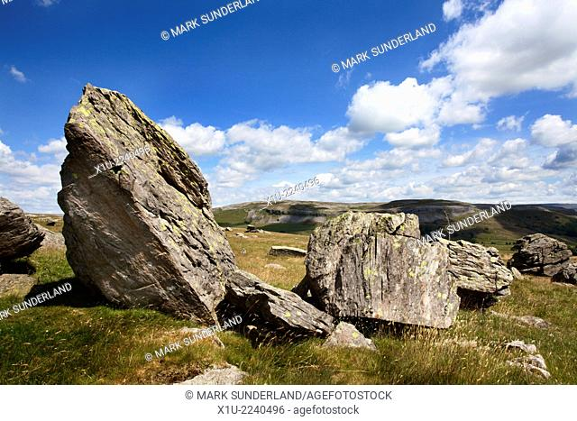 Norber Boulders in Crummack Dale near Austwick Yorkshire Dales England