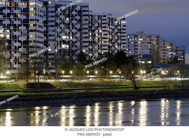 France, Nantes, Beaulieu island, residential buildings on the bank of the Loire