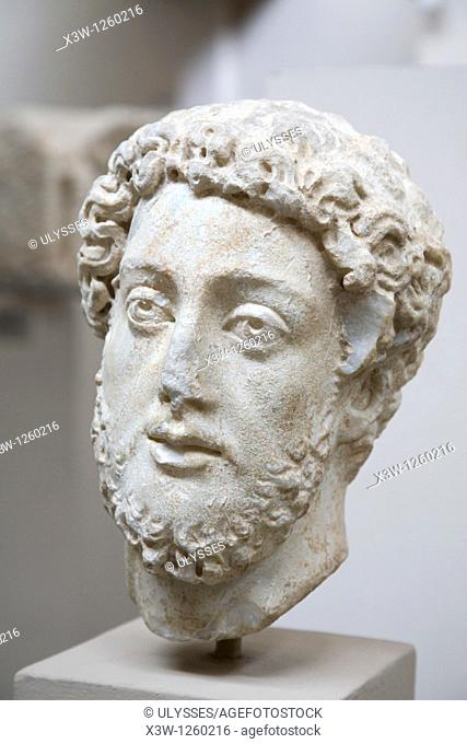 asia, turkey, anatolia, selcuk, museum of ephesus, head of the emperor commodus