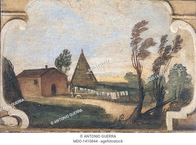 Scene of Country Life (Hanging Laundry) (Scena di vita campestre (I panni stesi), by Giovan Francesco Barbieri known as il Guercino, 1615 - 1616, 17th Century