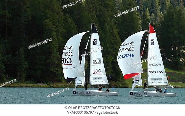 Sailing ship during St.Moritz Match Race at Lake St.Moritz, Engadin, Switzerland