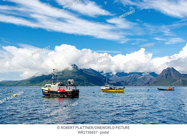 United Kingdom, Scotland, Highland, Isle of Skye, ships in the port of Elgol