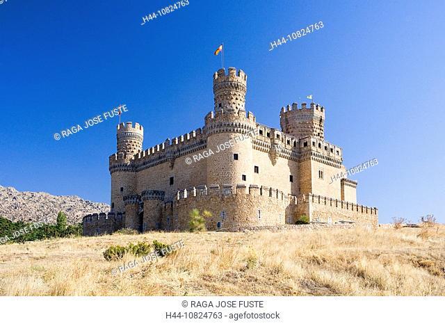 Spain, Europe, region, area, Madrid, castle Manzanares El Real, castle arrangement, fortress, Middle Ages