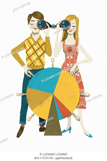 Young happy couple sharing binoculars and steering pie chart helm