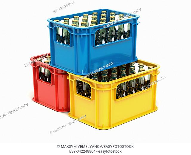 Crates full of beer bottles isolated on white background. 3d illustration