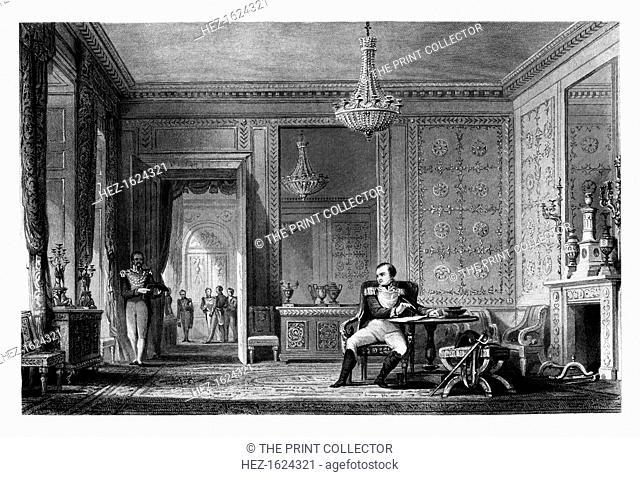 The Salon of Abdication, Fontainebleau, 1814, (1875). Napoleon abdicates at the Chateau de Fontainebleau in France