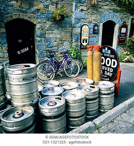 Empty beer barrels outside pub, Westport, County Mayo, Ireland