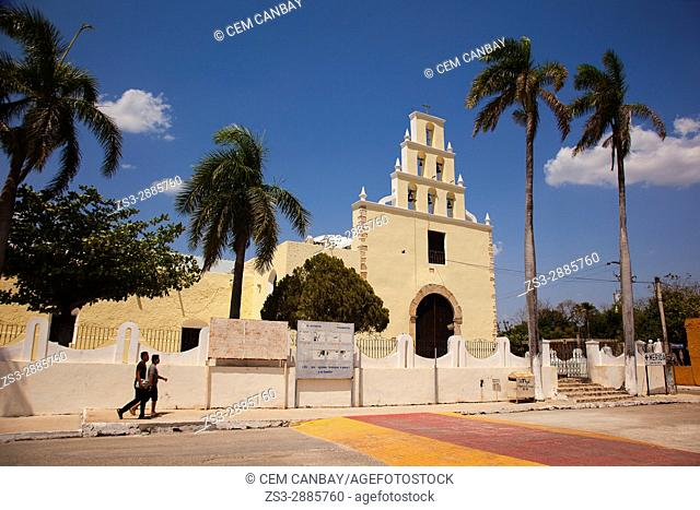 Young men in front of the church at the town center, Chumayel, Convent Route, Yucatan Province, Mexico, Central America