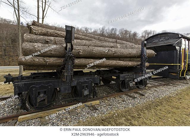 Log truck on display at Loon Mountain in Lincoln, New Hampshire, USA. Log trucks were used to carry logs on the East Branch & Lincoln Logging Railroad