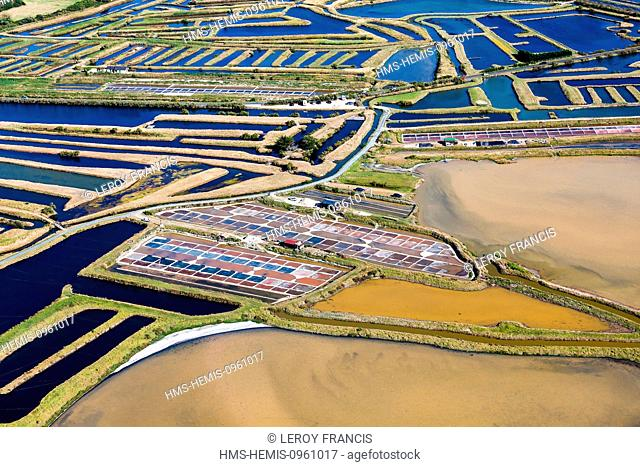 France, Vendee, L'Ile d'Olonne, salt marshes (aerial view)