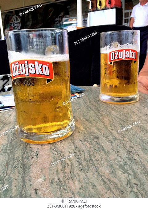Croatian Beer on the table closeup