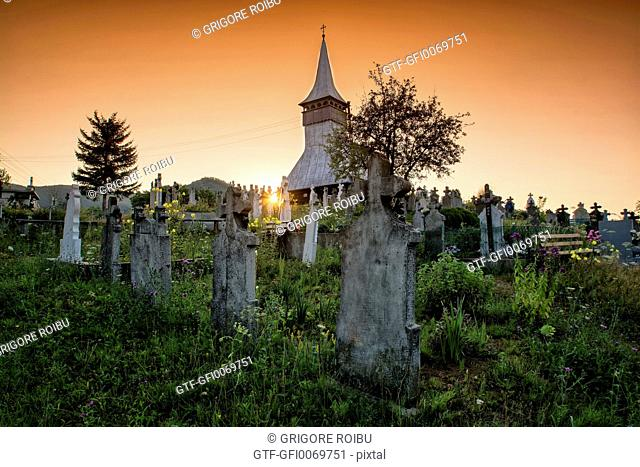 Sunset in the village cemetery