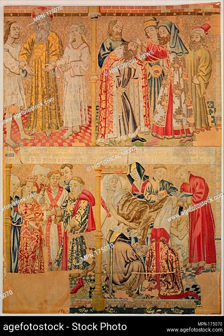 Scenes from the Story of the Seven Sacraments, Matrimony and Extreme Unction. Date: ca. 1435-50; Culture: South Netherlandish; Medium: Wool warp