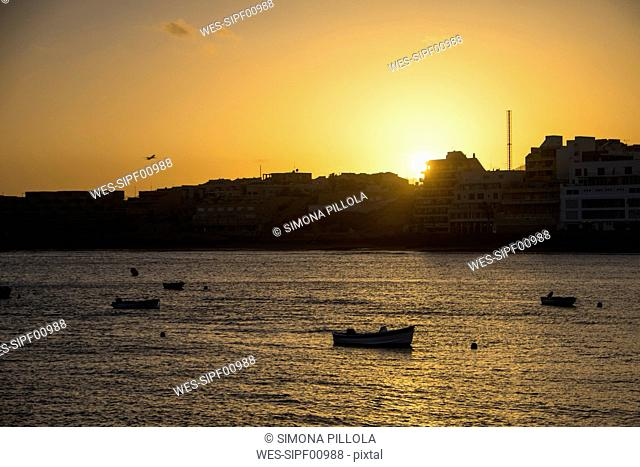 Spain, Tenerife, Boats at sunset