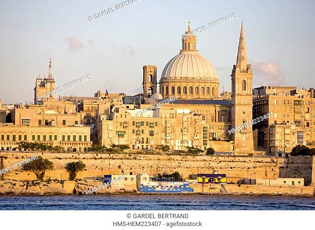 Malta, Valletta, listed as World Heritage by the UNESCO, dominated by the Carmelite Our Lady of Carmel Mount church