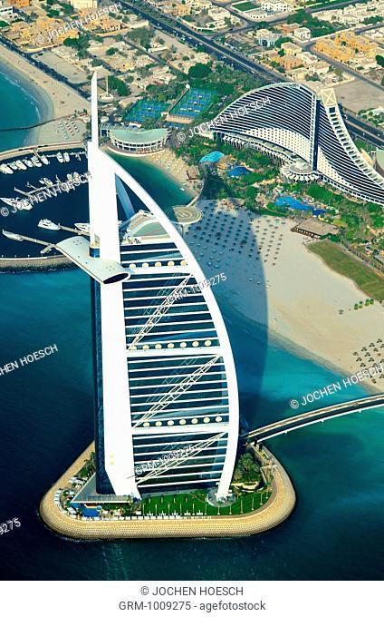 Aerial view of Burj Al Arab, Dubai, UAE