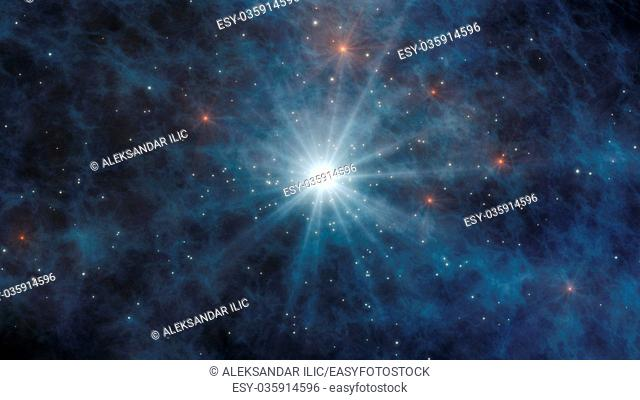 Universe with stars and galaxies in outer space showing the beauty of space exploration 3D Rendering
