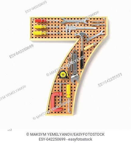 Number 7 seven Alphabet from the tools on the metal pegboard isolated on white. 3d illustration