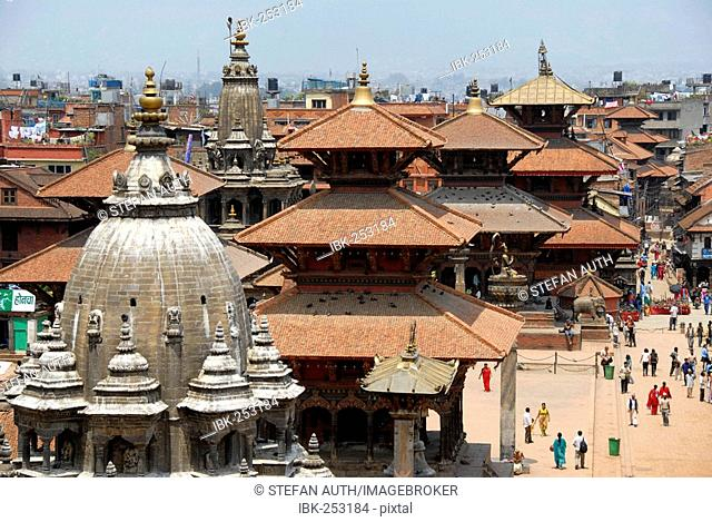 Durbar Square with many temples and pagodas Patan Kathmandu Nepal