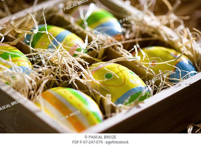 Close-up of Easter eggs in a box