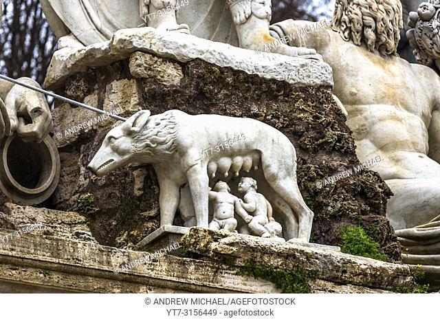 Statue of the She-Wolf Nursing Romulus and Remus in the Piazza del Popolo. Rome. Lazio. Italy