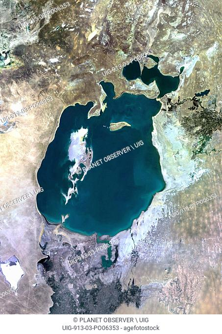 Colour satellite image of the Aral Sea. Image taken in 1990