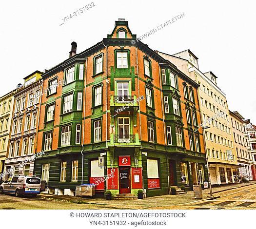 Corner building in Bergen, Norway