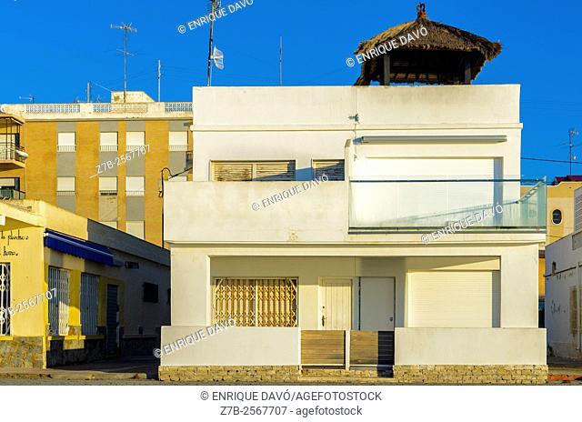 A white house view in Playa Lisa beach, Alicante coast, Spain