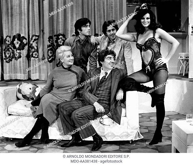 Gino Bramieri, Elsa Vazzoler, Ugo Maria Morosi, Paolo Cociani and Gianna Serra in Povera Italia. Italian actor and comedian Gino Bramieri sitting with Italian...