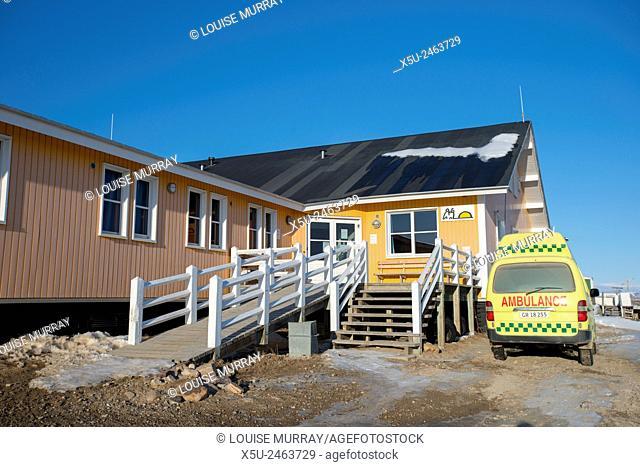 Hospital and ambulance in the village of Qaanaaq, Greenland