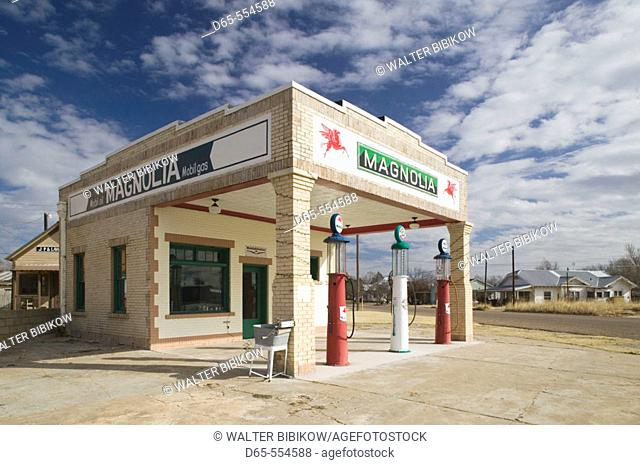 1930's era Marnolia Gas Station near old Rt.66. Panhandle Area. Shamrock.Texas, USA