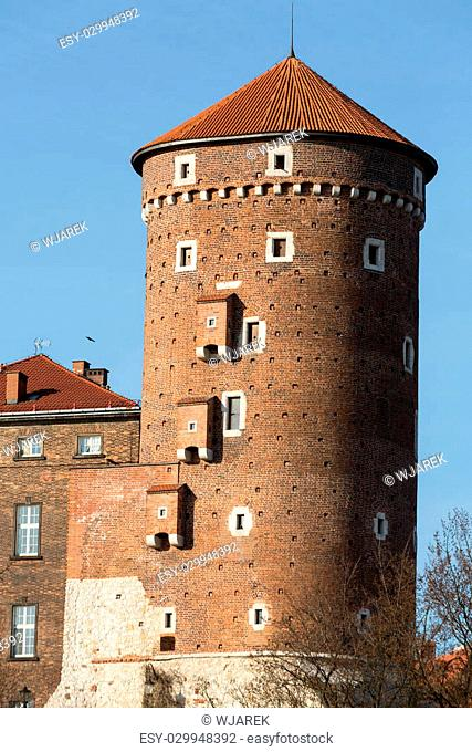 Sandomierska Tower at the Wawel Royal Castle in Krakow, Poland