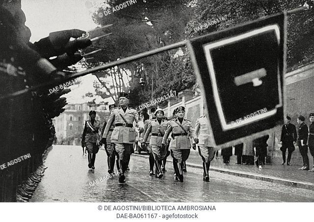 Benito Mussolini inspecting the Moschettieri del Duce elite unit on its fifteenth anniversary, Italy, from L'Illustrazione Italiana, Year LXV, No 8, February 20
