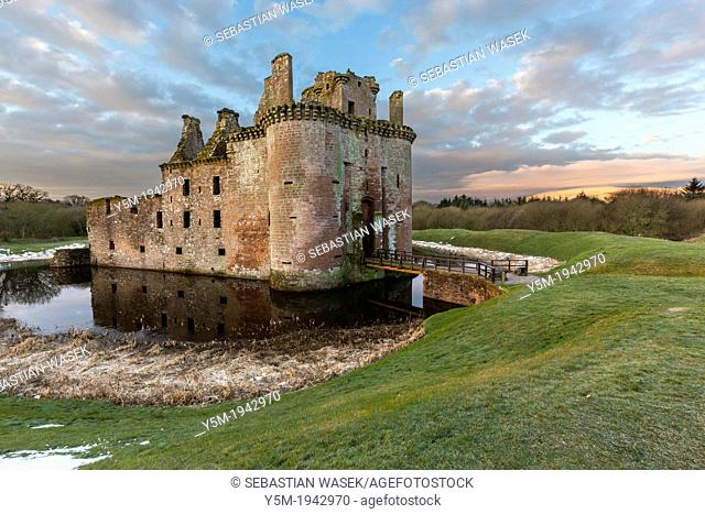 A view toward Caerlaverock Castle, Dumfries and Galloway, Scotland, UK, Europe