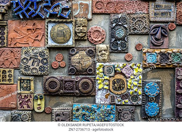 A wall decorated with handmade tiles at the Old City of Baku, Azerbaijan