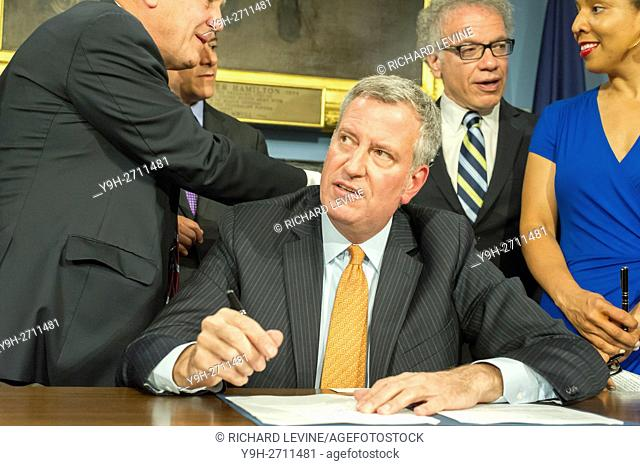 New York Mayor Bill De Blasio, at a bill signing ceremony in the Blue Room in City Hall in New York, on Tuesday, June 28, 2016
